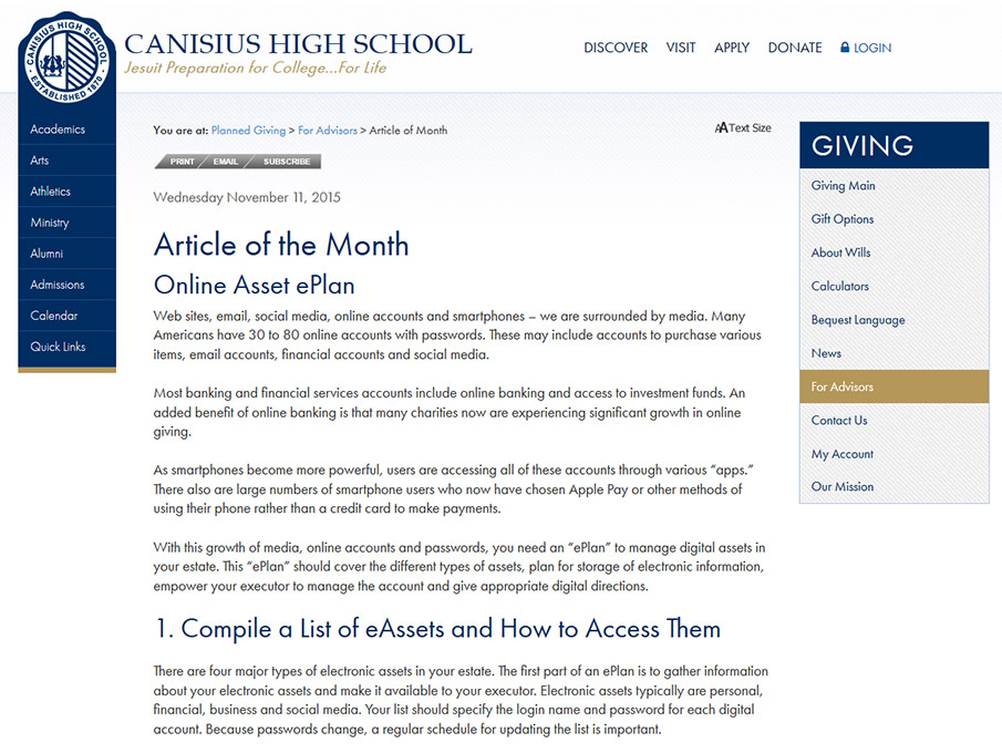 Canisius High School (Article of the Month)