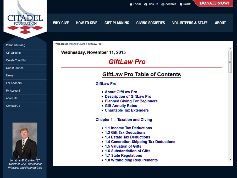 The Citadel Foundation (GiftLaw Pro Section)